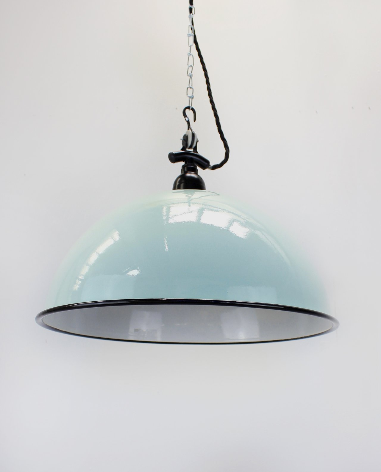Enamel dome teal black