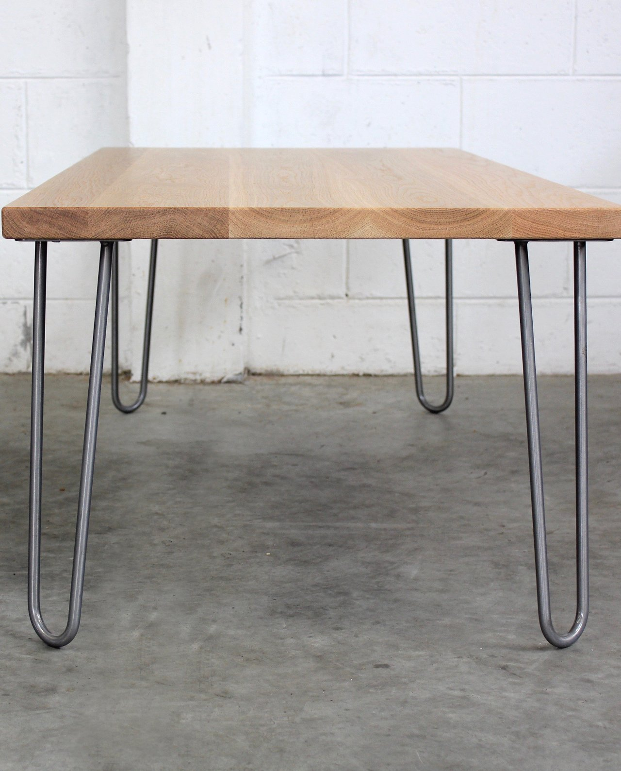 New Zealand Made Oak Coffee Table W Mid Century Hairpin Legs