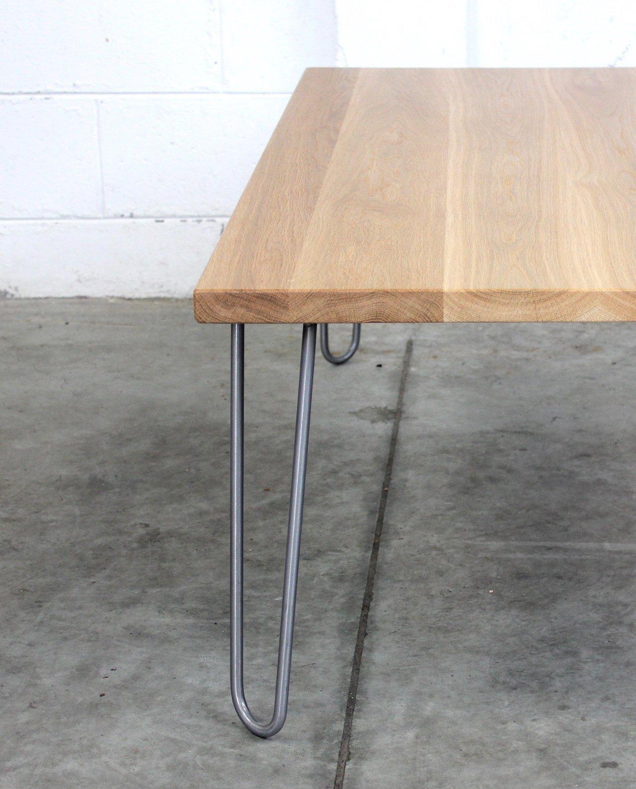 New Zealand Made Oak Coffee Table W Mid Century Hairpin Legs