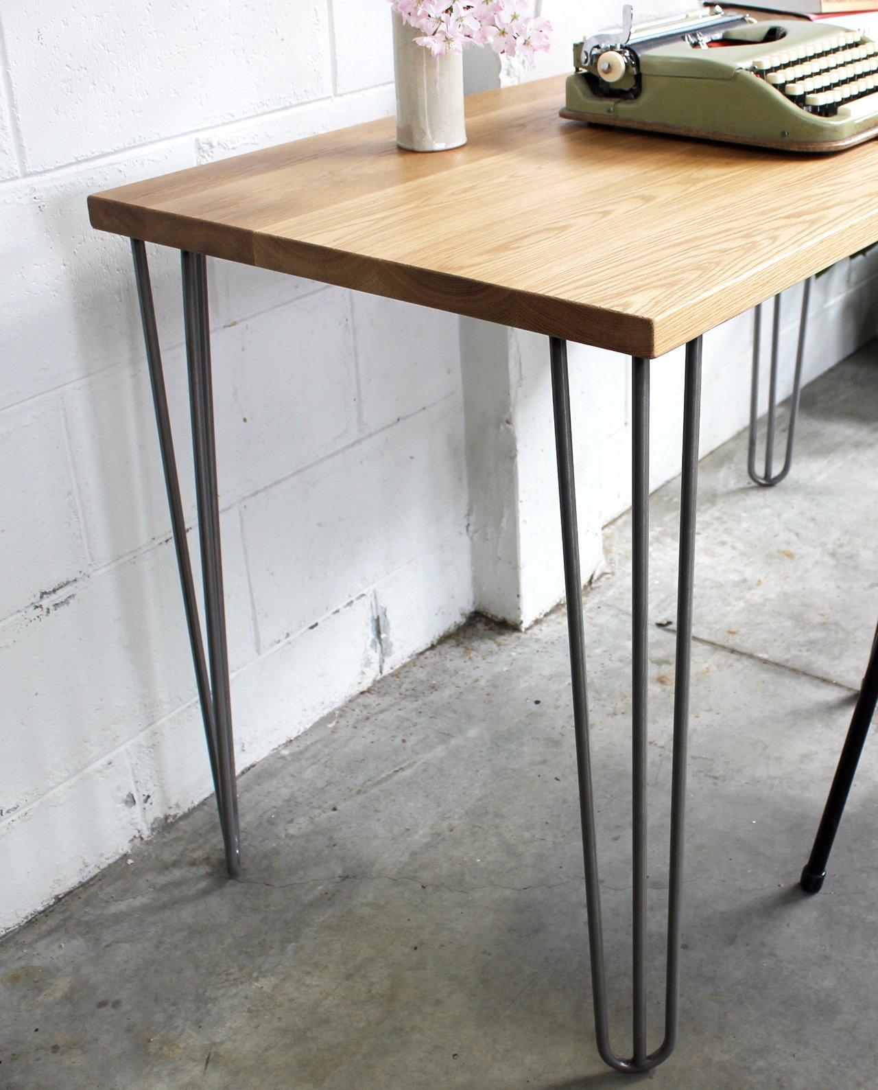 Oak Table Legs ~ New zealand made oak desk with mid century inspired